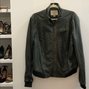 Lucky Brand olive green leather bomber jacket